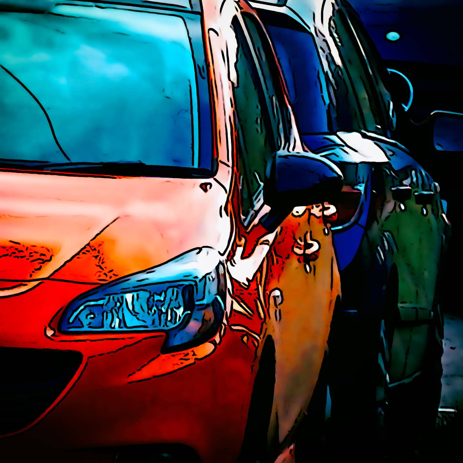 A stylised picture of a red car in a car park