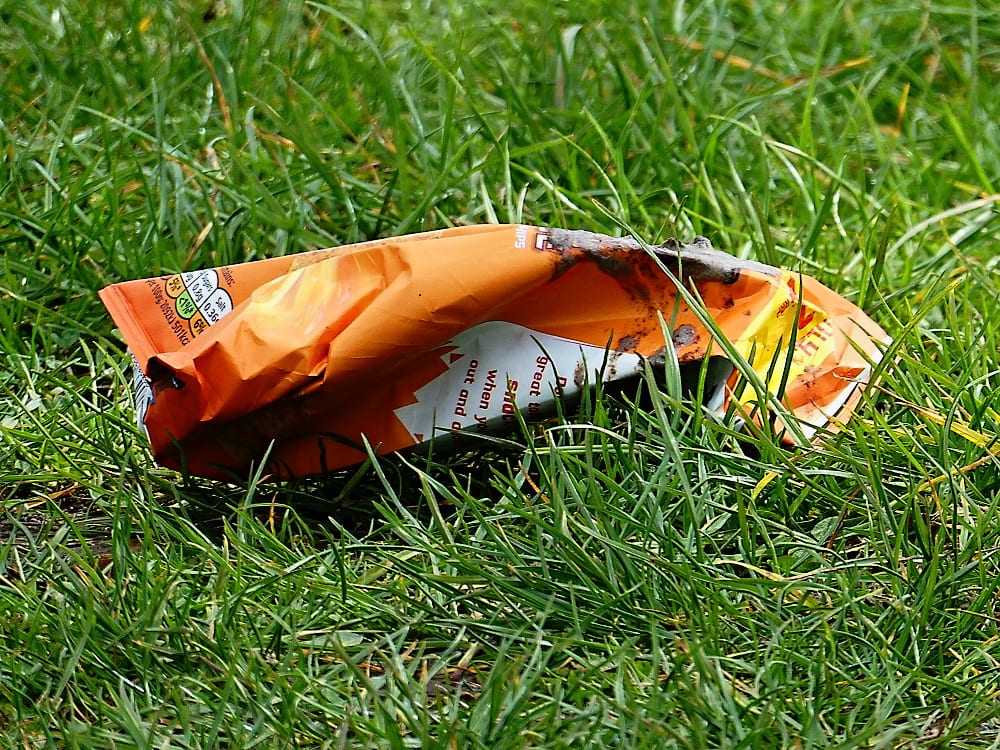 A discarded crisp packet